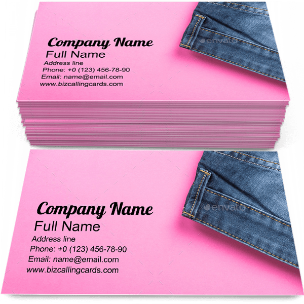 Sample of Jeans Store calling card design for advertisements marketing ideas and promote Fashion branding identity