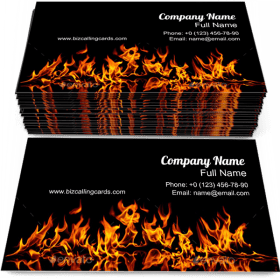 Fire Flames on a Black Business Card Template