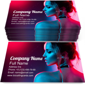 Girl with Trendy Make-Up Business Card Template