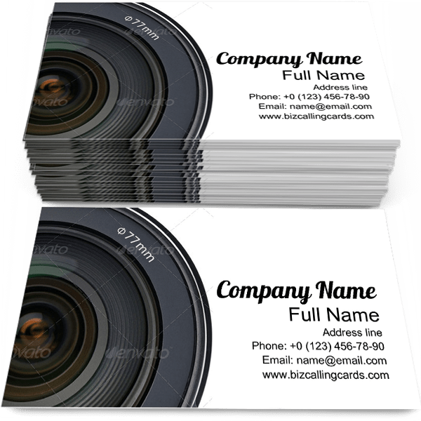 Sample of Photo Camera calling card design for advertisements marketing ideas and promote photographer branding identity