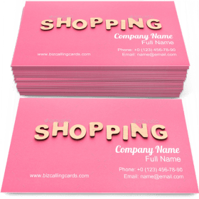 Pink Word Shopping Business Card Template