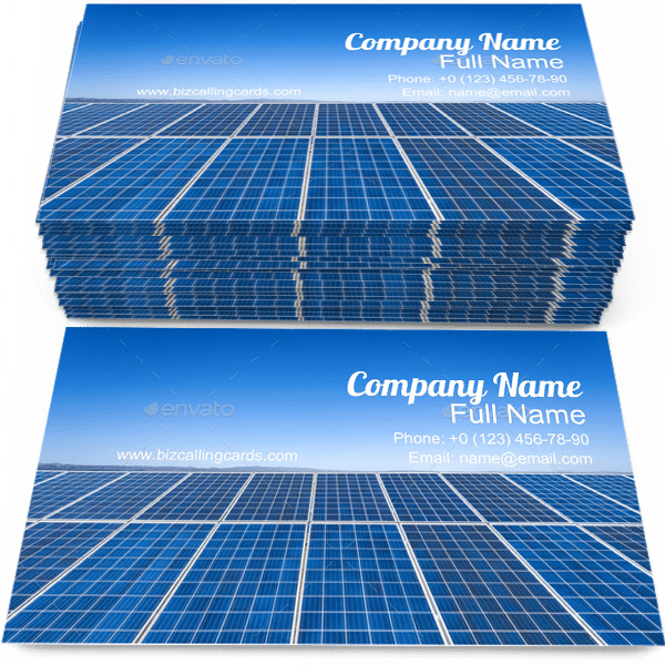 Sample of Solar Energy calling card design for advertisements marketing ideas and promote Technology branding identity