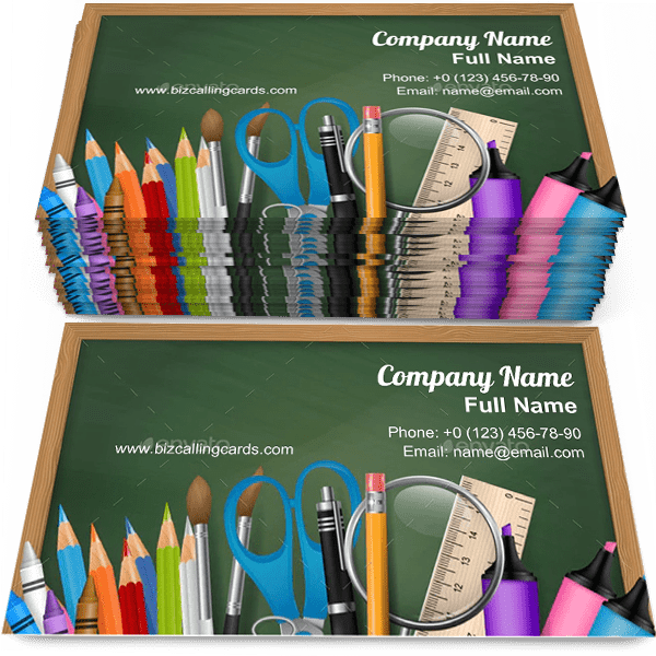 Sample of School Supplies calling card design for advertisements marketing ideas and promote Education branding identity