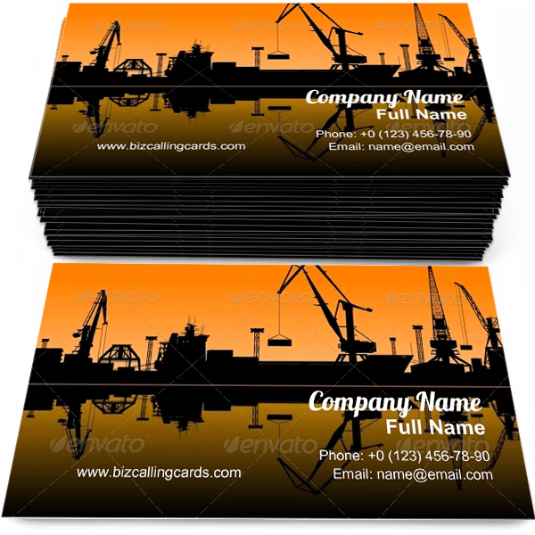 Sample of Sea Port calling card design for advertisements marketing ideas and promote shipping branding identity