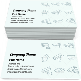 Security Cameras Icons Set Business Card Template
