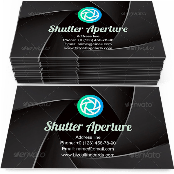 Sample of Shutter Aperture Illustration calling card design for advertisements marketing ideas and promote photography qualification branding identity