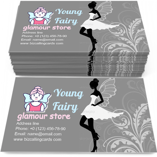 Sample of Silhouette of Fairy calling card design for advertisements marketing ideas and promote glamour store branding identity
