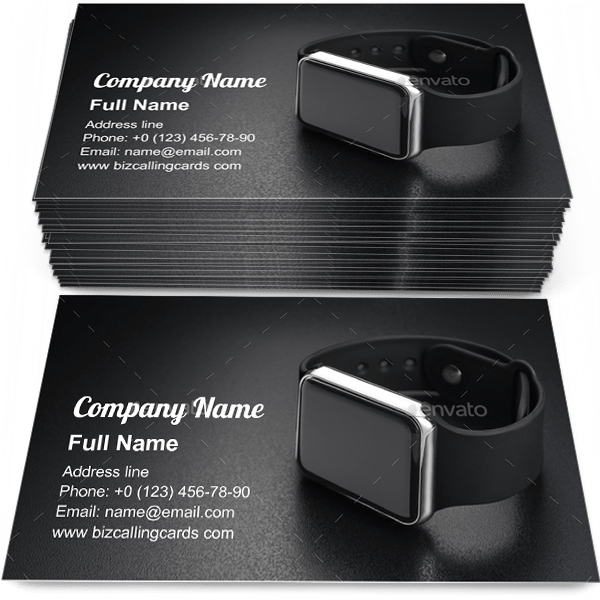 Sample of Smart wrist watches calling card design for advertisements marketing ideas and promote device branding identity