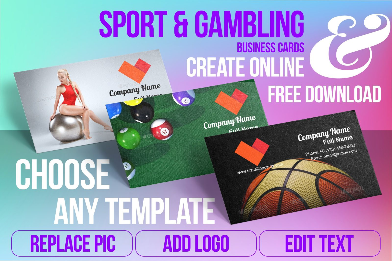 Business Card Templates For Sport & Games Free Download