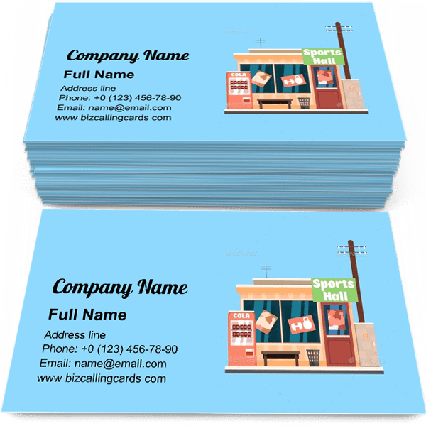 Sample of Sports Hall shop calling card design for advertisements marketing ideas and promote Sport sale market branding identity