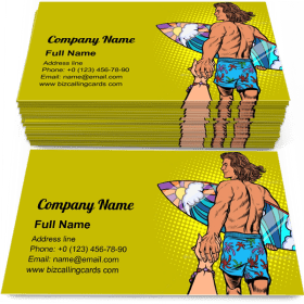 Surfer Man with Board Business Card Template