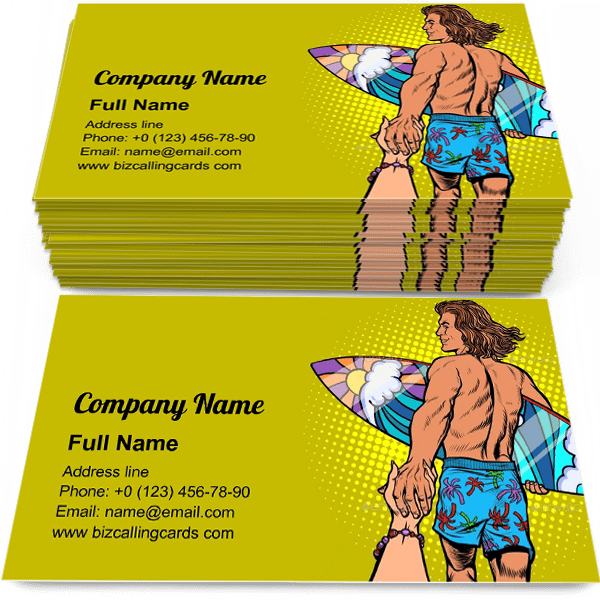 Sample of Surfer Man with Board calling card design for advertisements marketing ideas and promote surfboard branding identity