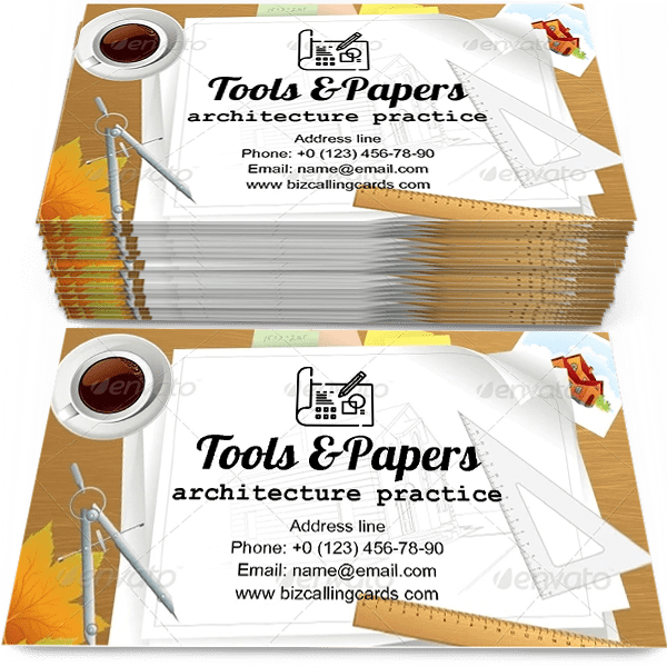 Sample of Tools and Papers with Sketches calling card design for advertisements marketing ideas and promote architecture practice branding identity