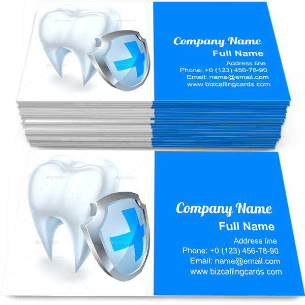 Sample of Tooth and Shield Protection calling card design for advertisements marketing ideas and promote medical dental branding identity