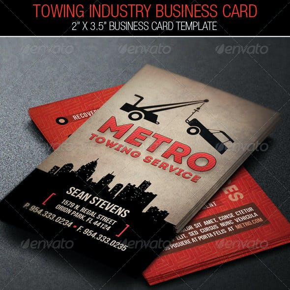 Towing Forklift Industry Business Card Template Free Download