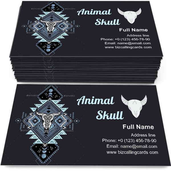 Sample of Tribal Animal Skull calling card design for advertisements marketing ideas and promote horn store branding identity