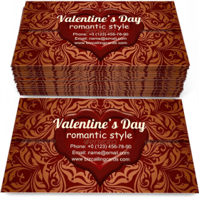 Valentine's Day Ornate Business Card Template