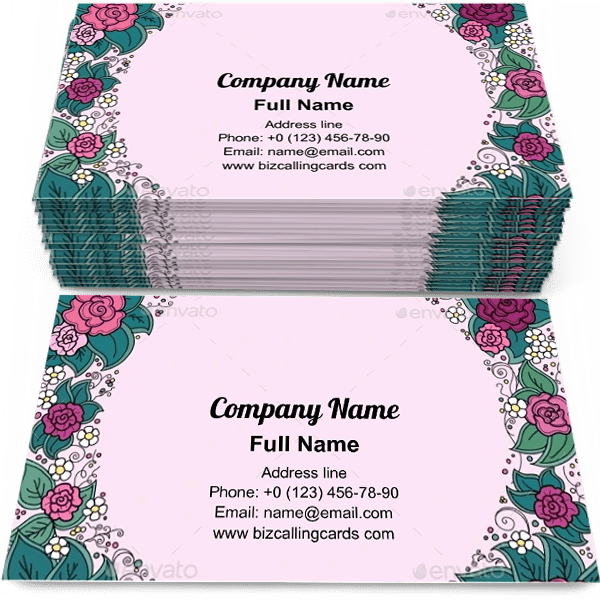Sample of Varicolored floral round calling card design for advertisements marketing ideas and promote decorative branding identity