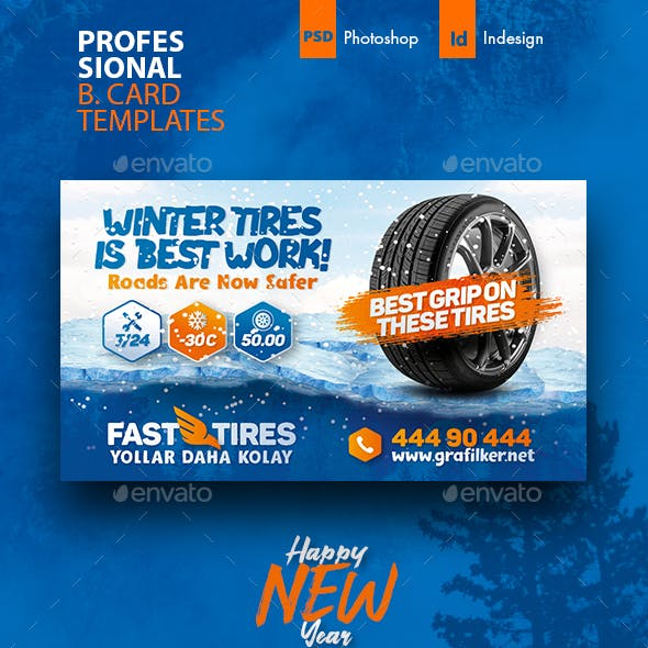 Winter Auto Tires Business Card Template Free Download