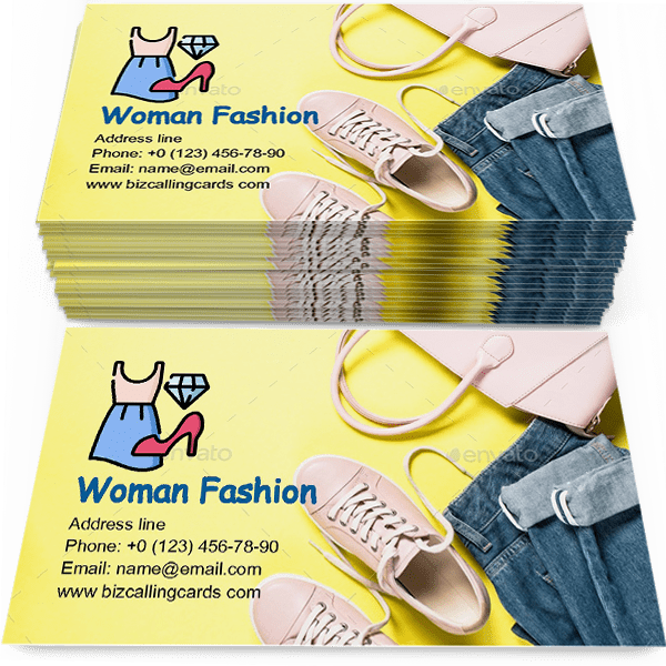 Sample of Woman fashion cloth set calling card design for advertisements marketing ideas and promote fashionable shop branding identity