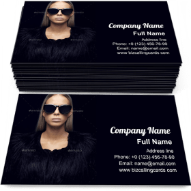 Woman In Fur Clothing Business Card Template