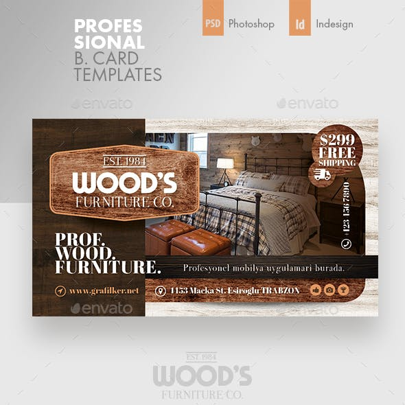 Wood Furniture Business Card Templates Free Download