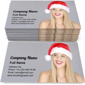 Young sexy woman in Santa Claus Christmas hat Business Card Template