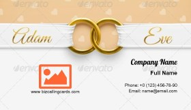 Adam & Eve with rings Business Card Template