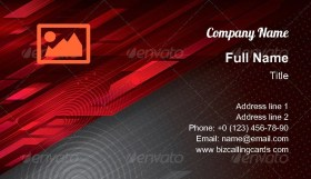 Digital abstract red technology Business Card Template