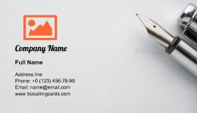 Steel fountain pen Business Card Template