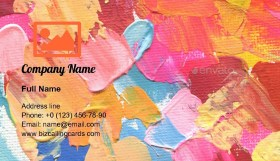Acrylic and watercolor painting Business Card Template