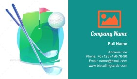 Golf Clubs and Flying Ball Business Card Template