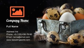 Сhicken and quail eggs in a box Business Card Template