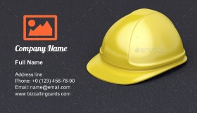 Yellow safety helmet Business Card Template