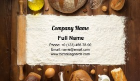 Bakery ingredients on table Business Card Template