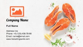 Fresh salmon fish fillet Business Card Template
