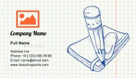 Pencil and Notebook Business Card Template