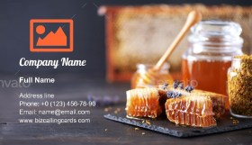 Honeycomb and honey jar Business Card Template