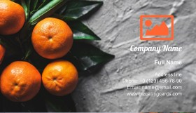 Tangerines with leaves Business Card Template
