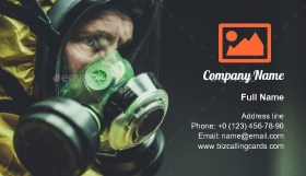Chemical Lab Mask Worker Business Card Template