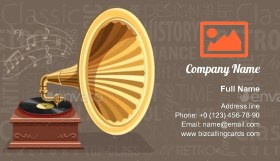 Vintage Gramophone Business Card Template