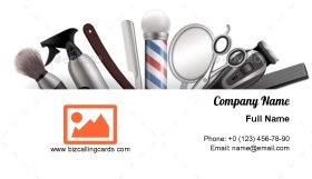 Barbershop with Barber Tools Business Card Template