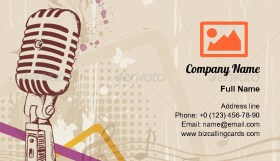 Retro music microphone Business Card Template