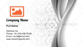 Leaves and silver wave Business Card Template