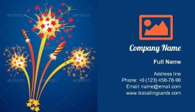 Colorful fireworks Business Card Template