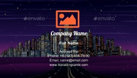Night City Skyline Business Card Template