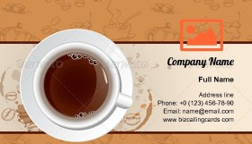 Vintage coffee and cup Business Card Template