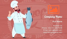 Chef man Holds Fish Business Card Template