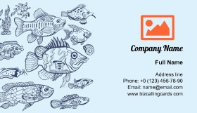 Fish Sketch Set Business Card Template
