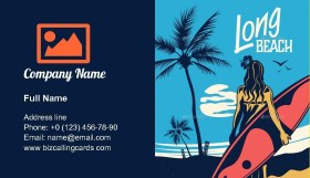 Surfboard at south beach Business Card Template